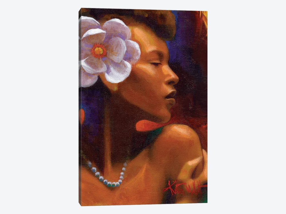 Woman With Pearl Necklace by Keith Mallett 1-piece Art Print