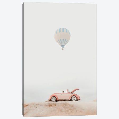 Pink Car And Hot Air Balloon Canvas Print #KMD106} by Karen Mandau Canvas Art