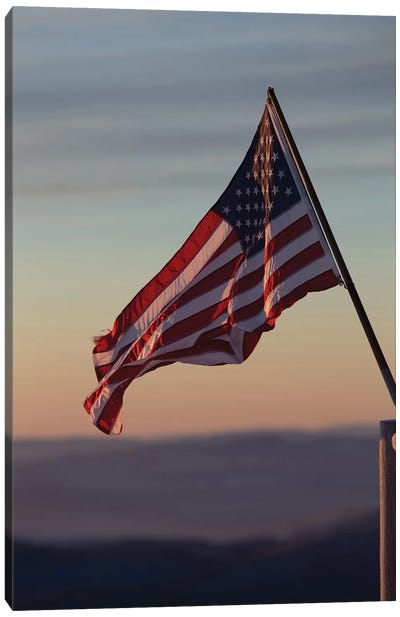 American Flag In The Sunset Canvas Art Print