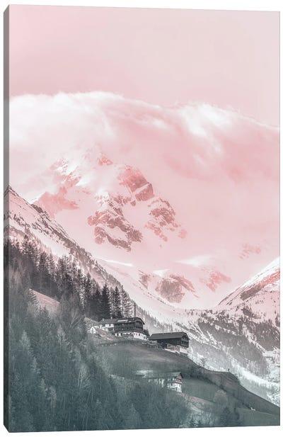 Pink Mountain Landscape Canvas Art Print