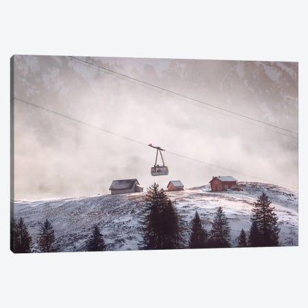 Pink Ski Lift Canvas Print #KMD119} by Karen Mandau Canvas Artwork
