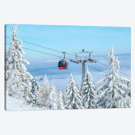 Red Ski Lift Canvas Print #KMD126} by Karen Mandau Canvas Art