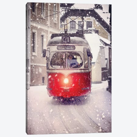 Red Tramway In The Snow Canvas Print #KMD127} by Karen Mandau Canvas Wall Art