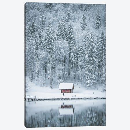 Red Lake Cabin Canvas Print #KMD128} by Karen Mandau Canvas Art Print