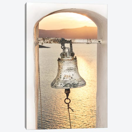 Santorini Church Bell In The Sunset Canvas Print #KMD132} by Karen Mandau Canvas Art