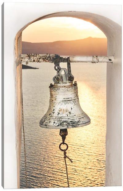 Santorini Church Bell In The Sunset Canvas Art Print