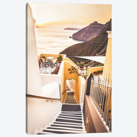 Santorini Stairs In The Sunset Canvas Print #KMD133} by Karen Mandau Canvas Art