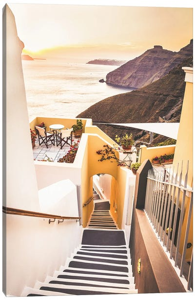 Santorini Stairs In The Sunset Canvas Art Print