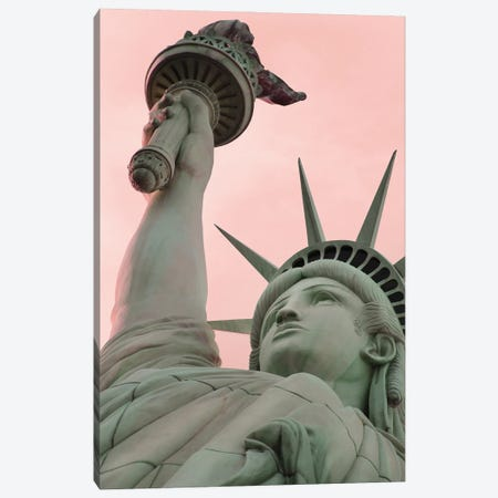 Statue Of Liberty With Pink Sky Canvas Print #KMD145} by Karen Mandau Canvas Art