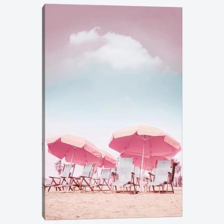 Beach Chairs With Umbrellas Canvas Print #KMD14} by Karen Mandau Canvas Print