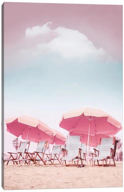 Beach Chairs With Umbrellas Canvas Art Print