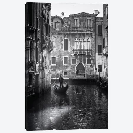 Venice Canal With Gondola Black And White Canvas Print #KMD154} by Karen Mandau Canvas Art Print