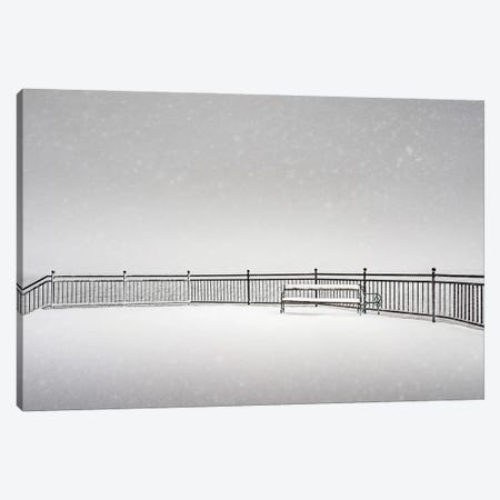 Bench In The Snow Canvas Print #KMD16} by Karen Mandau Art Print