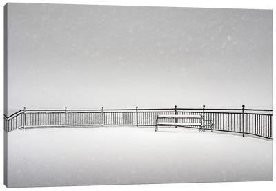 Bench In The Snow Canvas Art Print