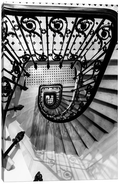 Black And White Staircase Canvas Art Print