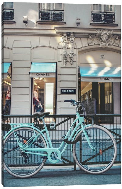 Blue Bike In Front Of Chanel Store Canvas Art Print