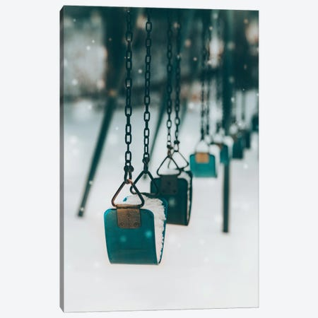 Blue Swings In The Snow Canvas Print #KMD27} by Karen Mandau Canvas Art