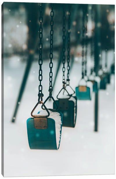 Blue Swings In The Snow Canvas Art Print