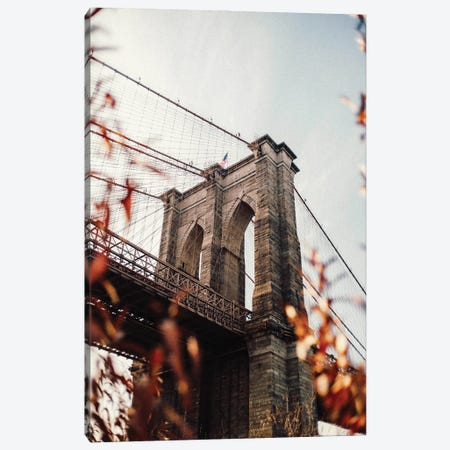 Brooklyn Bridge With Leaves Canvas Print #KMD29} by Karen Mandau Canvas Print