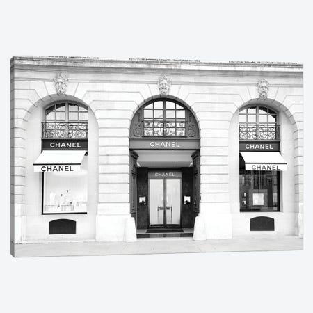 Chanel Store Paris Black And White Canvas Print #KMD39} by Karen Mandau Canvas Artwork