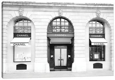 Chanel Store Paris Black And White Canvas Art Print