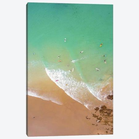 Aerial Beach With Surfers Canvas Print #KMD4} by Karen Mandau Canvas Wall Art