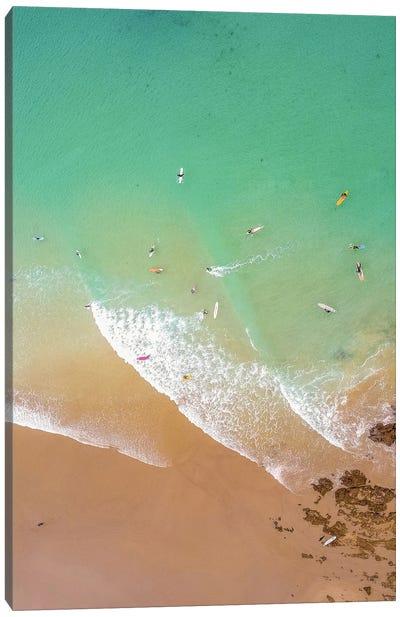 Aerial Beach With Surfers Canvas Art Print