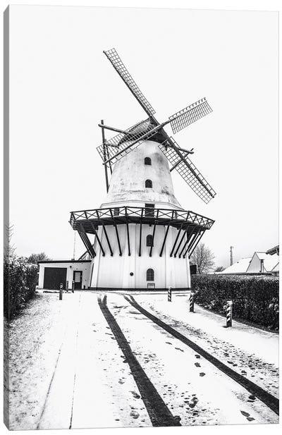 Dutch Windmill In The Snow Canvas Art Print