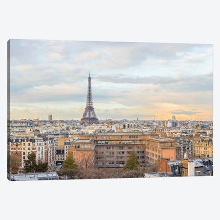 Eiffel Tower With Pastel Morning Sky Canvas Print #KMD52} by Karen Mandau Canvas Artwork
