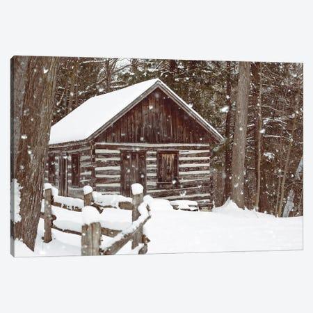Forest Log Cabin In The Snow Canvas Print #KMD55} by Karen Mandau Canvas Art Print