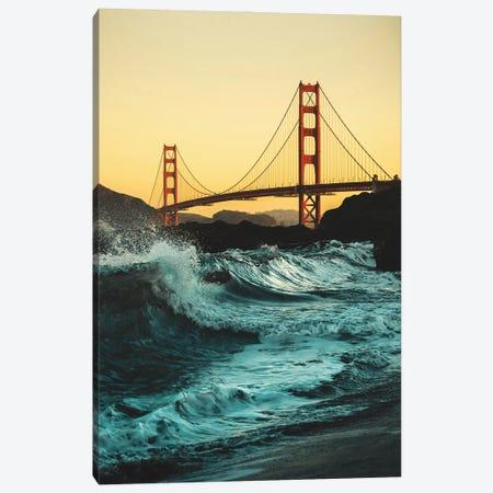 Golden Gate Bridge With Waves Canvas Print #KMD60} by Karen Mandau Art Print