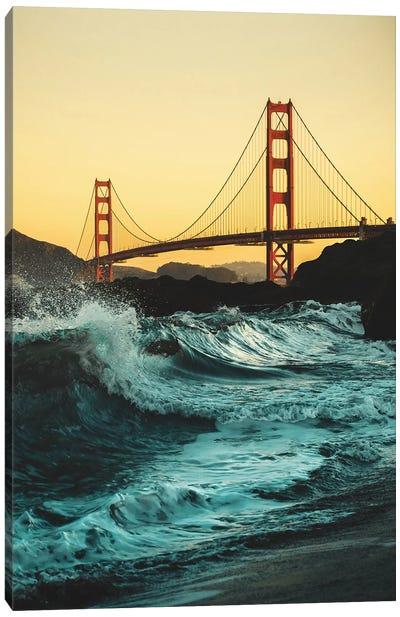 Golden Gate Bridge With Waves Canvas Art Print