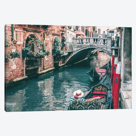 Gondola In Venice Canal Canvas Print #KMD61} by Karen Mandau Canvas Art Print