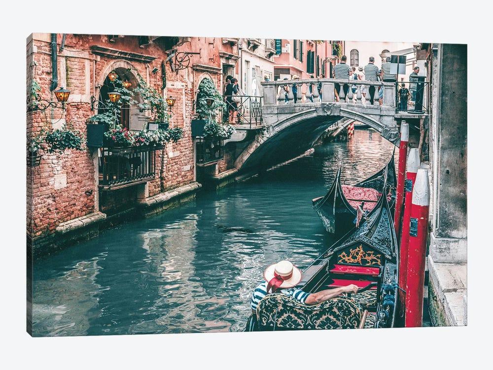 Gondola In Venice Canal by Karen Mandau 1-piece Canvas Print