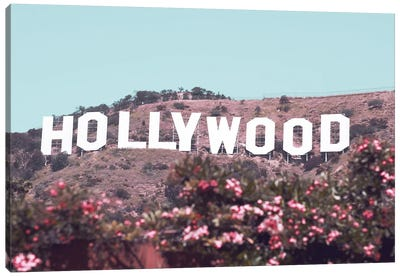 Hollywood Sign With Flowers Canvas Art Print