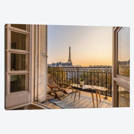 Paris Balcony With Eiffel Tower View Canvas Print #KMD96} by Karen Mandau Canvas Print