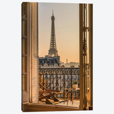 Paris Balcony With Eiffel Tower Canvas Print #KMD97} by Karen Mandau Canvas Print