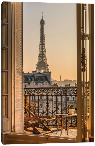 Paris Balcony With Eiffel Tower Canvas Art Print