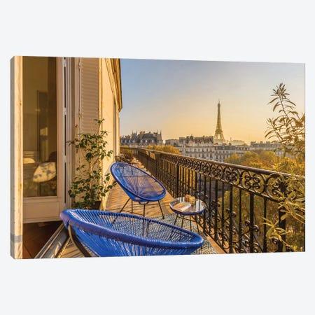 Paris Balcony At Sunset Canvas Print #KMD98} by Karen Mandau Canvas Wall Art