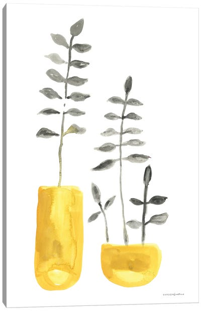 Fern In Mustard Vase II Canvas Art Print