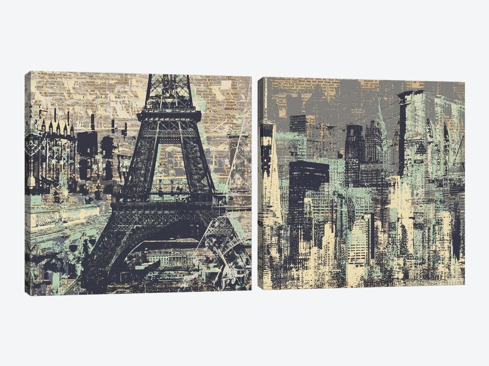 Je t'aime Paris and New York Diptych by Kyle Mosher 2-piece Canvas Wall Art