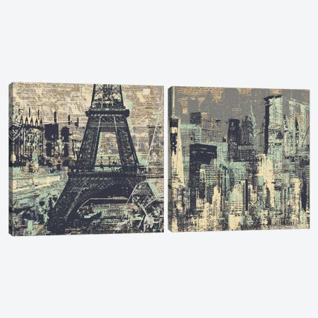 Je t'aime Paris and New York Diptych Canvas Print Set #KMR2HSET001} by Kyle Mosher Canvas Art