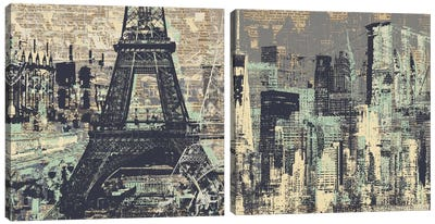 Je t'aime Paris and New York Diptych Canvas Art Print