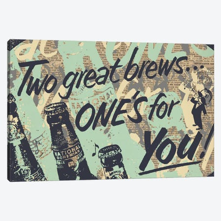 Two Brews Canvas Print #KMR37} by Kyle Mosher Art Print