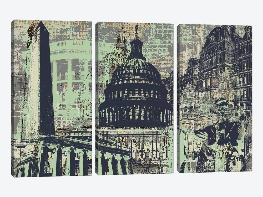 D.C. by Kyle Mosher 3-piece Canvas Art Print