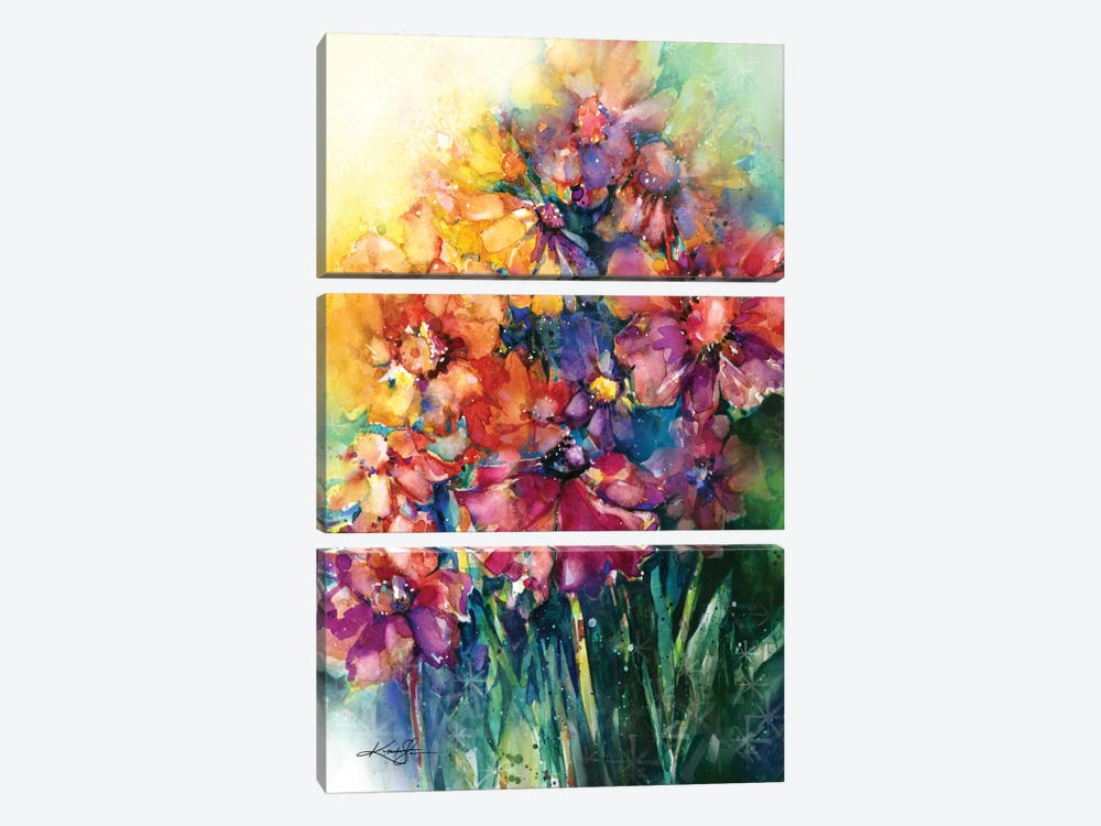 Floral Jubilee II by Kathy Morton Stanion 3-piece Canvas Print