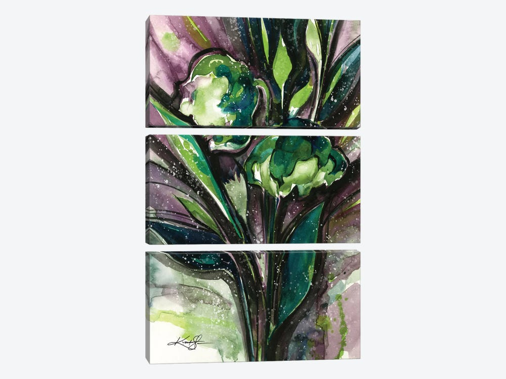 Green Bliss IV by Kathy Morton Stanion 3-piece Canvas Print