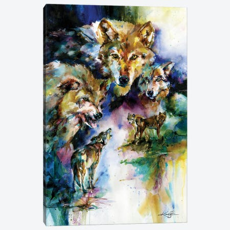Wolves Canvas Print #KMS170} by Kathy Morton Stanion Canvas Wall Art