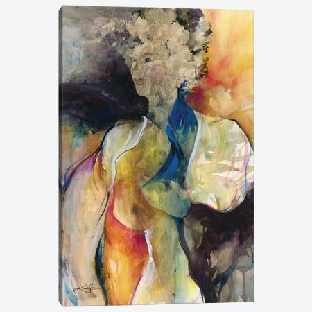 Her Blue Bird Canvas Print #KMS182} by Kathy Morton Stanion Art Print