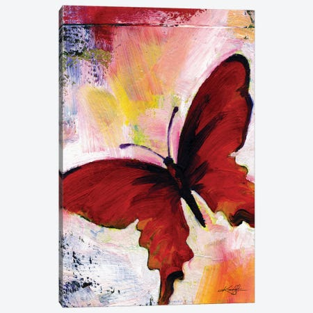 Red Butterfly Canvas Print #KMS353} by Kathy Morton Stanion Canvas Artwork